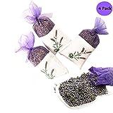 Yumsum 4 Pcs Fresh Vêtements de sachets de lavande séchée parfumée parfumée Sacs, 22 g X4 Pack