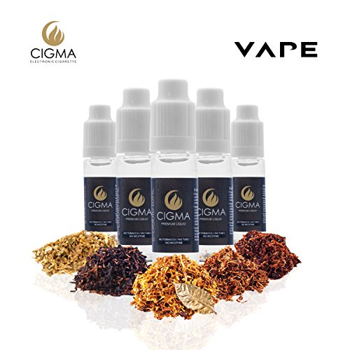 CIGMA 5 X 10ml E Liquido Worldwide Tobbaco Mix | Golden Tobacco - Turkish Tobacco - Classic Tobacco - UK Mix Tobacco - European Tobacco Mix | Hecho para el cigarrillo electrónico | Recientes Eliquid