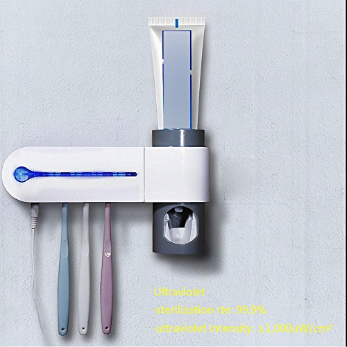 Zahnbürstenhalter uv zahnbürste uv reinigung/zahnbürstenreiniger tese, Automatisch Zahnbürsten Sterilisator/Ultraviolet Zahnbürsten Sterilisator Zahnbürstenhalter mit automatischer Zahnpasta Schiebevorrichtung (Zahnpasta-Buchse) Hällt 5 Zahnbürsten durch Weiwei An