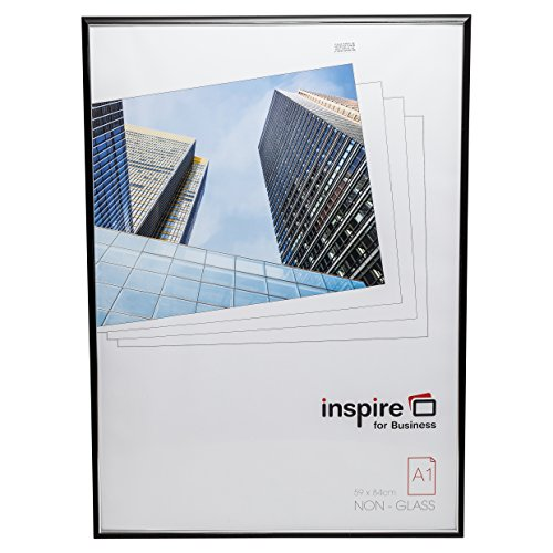 EASA1BKP - Marco formato A1para título, fotos o póster, con lámina frontal acrílica, fácil de montar, color negro