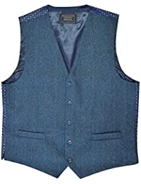 Men's Wool Blend Waistcoat with Contrasting Back - Blue