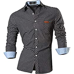 Jeansian Hombre Camisa Moda Casual Button Down Slim Fit Long Sleeves Dress Shirt Tops 8615 Black L