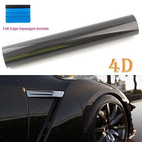 Peatop, rivestimento in fibra di carbonio vinilica 4d, lucida, a libero rilascio d'aria. rotolo di pellicola a prova di pieghe. colore: nero
