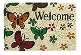 Schmutzfangmatte / Fußmatte / Fussmatte / Fußabstreifer / Fußabtreter / Schmutzmatte - Butterfly - Schmetterlinge - Welcome - Modell Kokos 40 x 60 cm
