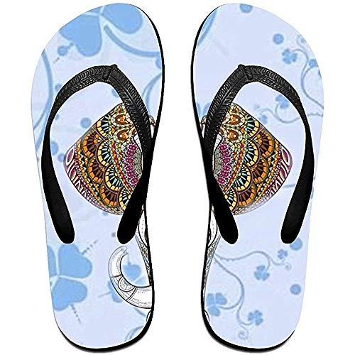 Zapatillas Chanclas Unisex Antideslizantes Cabeza de Elefante con Flores Zapatillas de Playa Frescas Sandalia