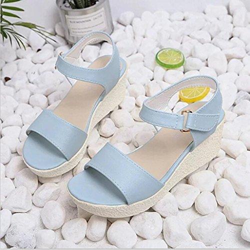 Webla 2017 NeuDamenschuhe Wedges Sandalen Plattform Open Toe Plattform Schuh Damen Schuhe Damen Offene Sandalen mit Keilabsatz T-Spangen Blau