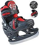 Kinder Eislauf Schlittschuhe verstellbar 34-37 Schwarz-Rot