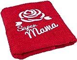 Geschenk zum Geburtstag für Mama oder Muttertag - Handtuch mit gestickter Rose und Super Mama -...