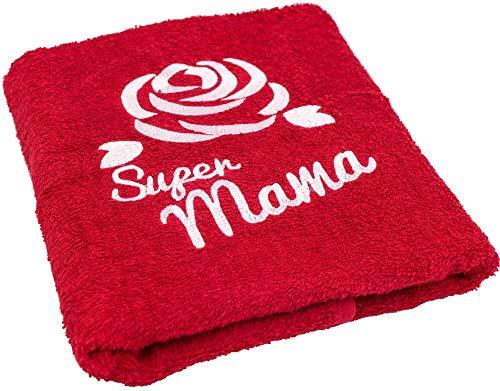Geschenk zum Geburtstag für Mama oder Muttertag - Handtuch mit gestickter Rose und Super Mama - eine praktische Geschenkidee für Mutter - ein dauerhaft nützliches Geschenk (Geschenke Für Mama Zum Geburtstag)