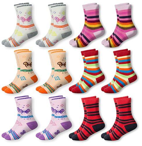 Mctam Mädchen Socken Damen 12er Pack 90% Baumwolle Mix Motiv, 23-26, 12x Mädchen Lang 1 - Kind Jüngstes
