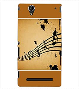 PrintDhaba Music Notes D-1428 Back Case Cover for SONY XPERIA T2 ULTRA (Multi-Coloured)