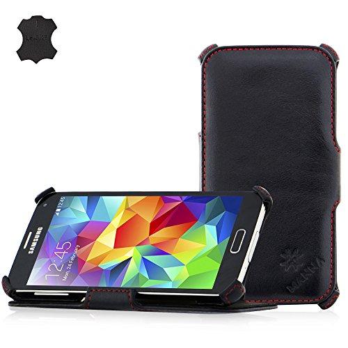 Leicke MANNA Samsung Galaxy S5 Hülle Samsung Case - Tasche Schutzhülle Echtes Leder Aufstellbar Nappaleder Meerana, schwarz