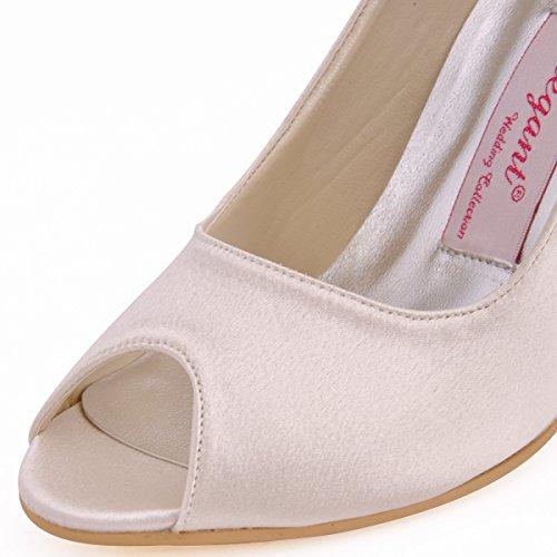 Elegantpark EP11017 Simplement Bout Ouvert Satin Femmes Aiguille Soiree Chaussures de Mariee Mariage Ivoire