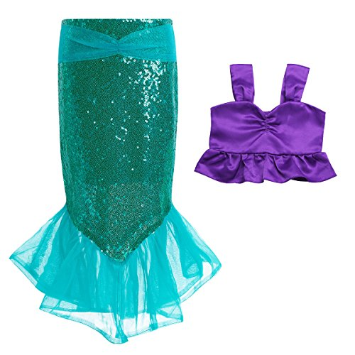 iiniim Mädchen Kinder Meerjungfrau Kostüm Pailletten Cosplay Karneval Halloween Festzug Kinderkostüm Tops+Meerjungfrau Rock Lila&Grün 104/4 Jahre (Kleid Top Geraffte Mesh)