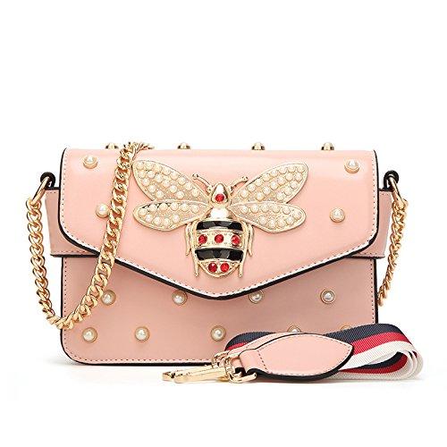2018 Der Gleiche Absatz Biene Perle Tasche Schrägen Nieten Kette Tasche Umhängetasche,Rosa-One Größe (Verschönert Tasche)