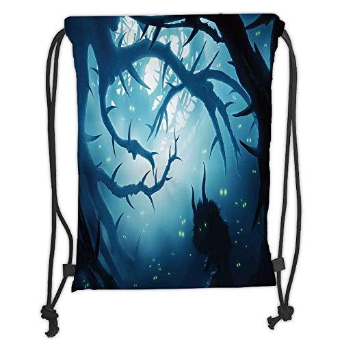 ZKHTO Drawstring Sack Backpacks Bags,Mystic House Decor,Animal with Burning Eyes in Dark Forest at Night Horror Halloween Illustration,Navy White Soft Satin,5 Liter Capacity,Adjustable String
