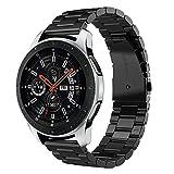 V-MORO Armband für Samsung Galaxy Watch 46mm 22mm Solider Edelstahl Metall Ersatz Band Uhrenarmband Armbands Uhrenarmband Bänder für Galaxy Watch 46mm(Schwarz)