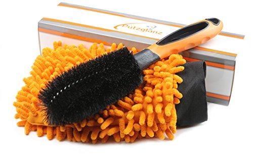 Preisvergleich Produktbild Putzglanz Premium Felgenbürste und Mikrofaser Autowaschhandschuh zur professionellen Felgenreinigung - Schonende und gründliche Reinigung von Stahl- und Alufelgen (Orange-Schwarz)