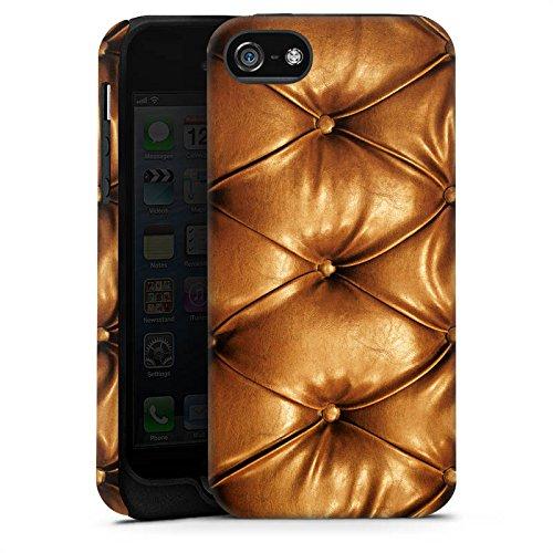 Apple iPhone 5s Housse Étui Protection Coque Motif cuir Sofa Sofa look cuir Cas Tough terne