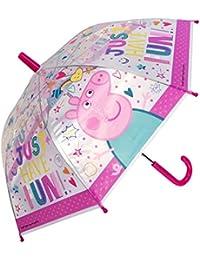 Chanos Chanos Peppa Pig Safety Runner PoE Transparent Folding Umbrella, 38 cm, Pink Paraguas