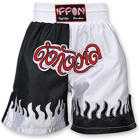 M.A.R International Ltd Kick Boxen & Thai Boxing Shorts Kickboxen Hose MMA Hose Boxen Kleidung Muay Thai K1 GEAR Polyester Satin Stoff, schwarz/weiß Größe L Mehrfarbig - schwarz / weiß -