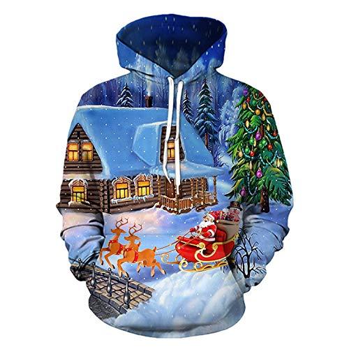 (MIRRAY Herren Weihnachten Pullover 3D Mode Lustig Gedruckt Langarm Kapuzenpulli Tops Bluse S/M/L/XL/XXL/XXXL)