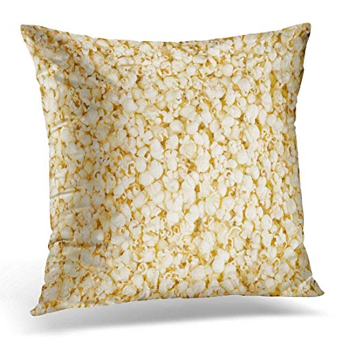 Xukmefat White Butter Scattered Salted Popcorn Yellow Cafe Candy Decorative Pillow Case Home Decor Square 18x18 Inches Pillowcase - Cotton Candy Cafe