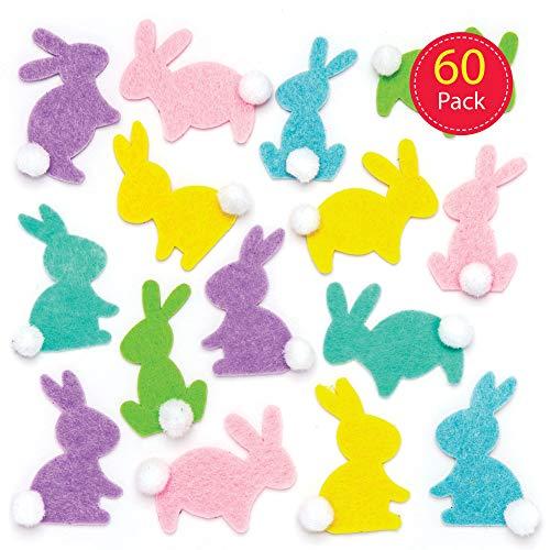 Baker ross adesivi coniglietto in feltro (confezione da 60) - decorazioni creative per la pasqua