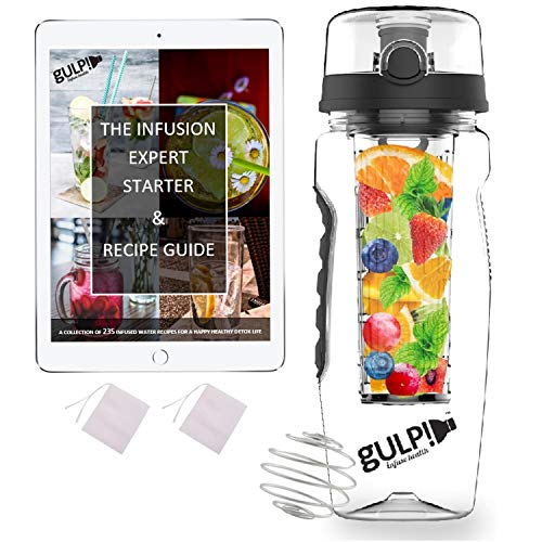 gulp Fruit Infuser Water Bottle 1 Litre, Tritan Unit with Infusion Rod, 235 Detox Infused Recipes ebook, Protein Shaker Mixer (Black)