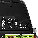 Familie Modell 1 Aufkleber ca. 25 cm breite , Sticker-Familie Aufkleber Sticker Family breite Auto Aufkleber Autoaufkleber Familien Scheibe Lack Heckscheibe fürs Auto Familienkutsche Lustig Spass mit Montage Set inkl.