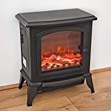 Fineway. Electric Stove Heater with Log Burner Flame Effect Fire - 2000W, Black - Freestanding Fireplace with Wood Burning LED Light - Adjustable Temperature 2 Heat Settings & Flame With Large Window