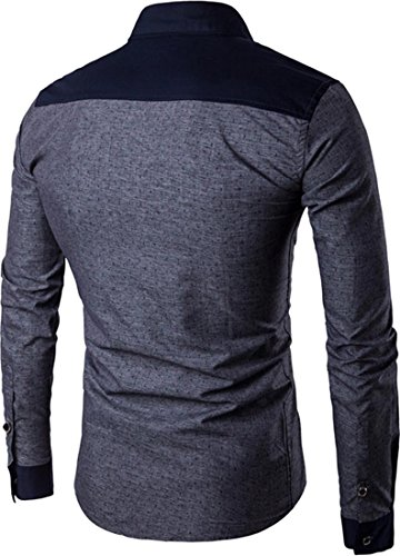 Jeansian Hommes Mode Casual Chemises Manche Longue Men's Fashion Slim Long Sleeves Dress Shirts Tops 84P3 Darkgray