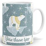 Drucksaal Tasse mit Namen personalisiert - Motiv Antarctic Nightlife auf Kaffeetasse in weiß ab 1 Stck. individuelle Namenstassen.