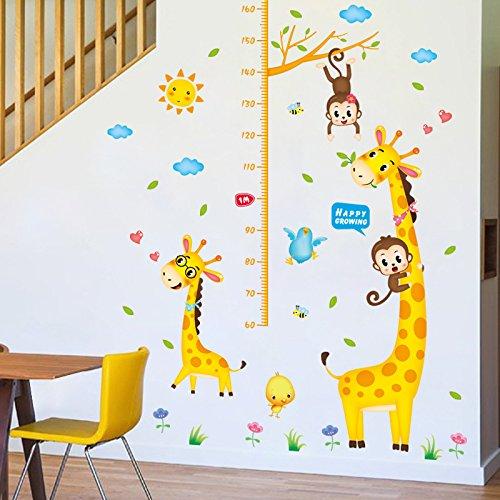mznm Cute Cartoon Giraffe Höhe Aufkleber Baby Mess-Höhe Lineal Kinderzimmer Kindergarten Wand Dekoration Aufkleber (- Höhe Wand Mess)