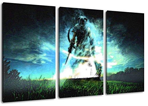 Skyrim Motiv, 3-teilig auf Leinwand (Gesamtformat: 120x80 cm), Hochwertiger Kunstdruck als Wandbild. Billiger als ein Ölbild! ACHTUNG KEIN Poster oder Plakat!