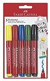 Faber-Castell 159505 Marqueurs T-SHIRT(Jaune/rouge/bleu/vert/noir) blister de 5