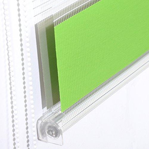Doppelrollo Weiß Grün Grau WOLTU - 4