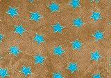 Flausch-Stoff Sterne, Meterware Hellbraun-Blau