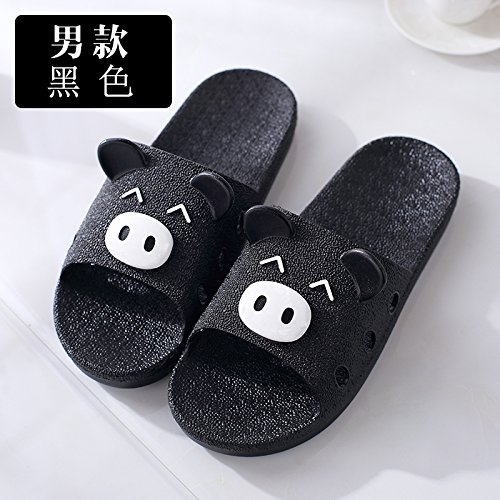 DogHaccd pantofole,Estate coppie sweet home anti-slittamento, cool pantofole estate uomini indoor home bagno doccia scarpe vassoio Nero4