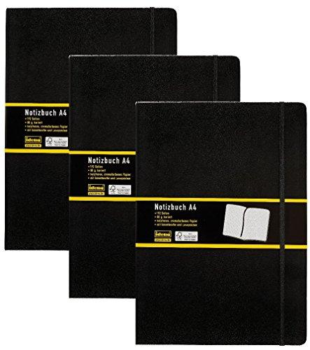 3er Vorteilspack Idena 209280 - Notizbuch DIN A4, 192 Seiten, 80 g/m², kariert, schwarz (DIN A4 | 3 Stück, kariert)