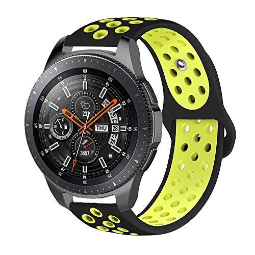 iBazal 22mm Armband Silikon Uhrenarmband Silikonarmband Armbänder Ersatz für Samsung Galaxy Watch 46mm,Gear S3 Frontier/Classic,Huawei GT/2 Classic/Honor Magic,Ticwatch Pro Uhrarmband - Schwarz/Gelb (Uhrenarmband Silikon Fossil)