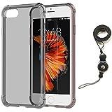 Coque iPhone 7 Transparent avec Collier Lanyard, Bidear [Souple et souple] TPU Silicone Résistant aux chocs Coussin d'air Cover Bumper Case Pour Apple iPhone 7 -4.7 Pouces(Noir)