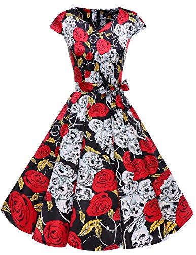Dresstells Damen Vintage 50er Cap Sleeves Rockabilly Swing Kleider Retro Hepburn Stil Cocktailkleid Black Skull XS