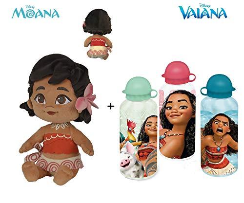 "Disney - Pack Peluche Vaiana Bebe 9""/25cm qualità Super Soft + Borraccia in Alluminio 500 ml"