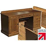 Solid Pine Writing Desk, Handcrafted & Waxed Twin Pedestal Bureau with Filing Drawer. Choice of Colours. No flat packs, No assembly (TPD8)