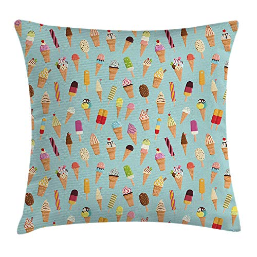 KLYDH Ice Cream Decor Throw Pillow Cushion Cover, Mix Yummy with Chocolate and Fruit Flavor Toppings in Cones Illustration, Decorative Square Accent Pillow Case, 18 X 18 inches, Multicolor