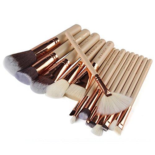 La Cabina 15Pcs Pinceaux Maquillage Cosmétique Brosses de Maquillage Set Kit Outil de Brosse Foundation en Or Rose