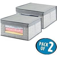 mDesign Cajas almacenaje juego de 2 - Cajas almacenaje ropa, toallas, sábanas - Ideales cajas organizadoras para un orden óptimo - Color: gris