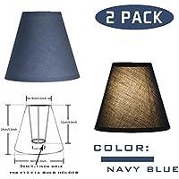 OYGROUP Lampe de remplacement de couleur unie Simple Ombre de mode Créative Simple Lampe de table ombre (paquet de 2) 8x14x16cm bleu foncé