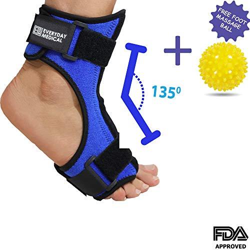 Everyday Medical Férula plantar nocturna azul con bola de masaje - Férula dorsal nocturna para Fascitis plantar - Tobillera, Soporte ortopédico de estiramiento del pie ergonómico con barra flexible